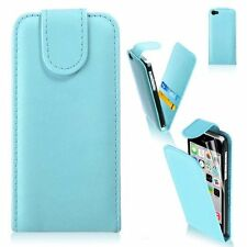 LIGHT BLUE Leather Flip Case Cover with Card Slots&clip for Apple iPhone 4/4s UK