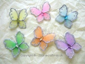 12 x 6cm Mesh & Wire Butterflies of one colour or 9 x 1 of each colour, Gorgeous