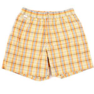 NWT $450 BRIONI Orange-Yellow-Blue Check Swimsuit M (32 Waist) Swim Trunks