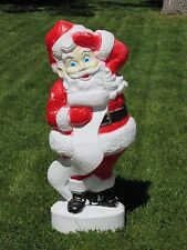 "Large 43"" Blue Eyed Santa Lighted Blow Mold Union Products Vintage Christmas"