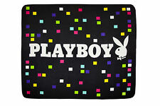PLAYBOY THROW 127 cm X 152 cm WITH PLAYBOY WORDING AND MULTI COLOURED SQUARES