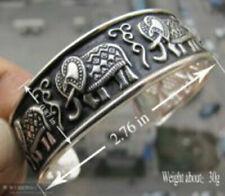 Tibetan silver carved elephant cuff Bangle bracelet