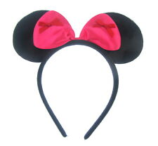 Black mini mouse ears with pink bow & red bows Fancy Dress Costume Accessory