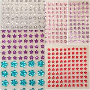 100 x 6mm Self Adhesive Rhinestone Stick on Flowers for Arts, Craft, Card Making