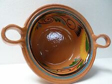"Mexican Redware Natural Clay Pottery Bean Pot Cazuela Southwest Casserole Lg 17"""