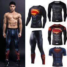 Superman Men Compression T-shirt Legging Pants Sport Gym Jersey Training Suit