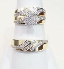 10kt Yellow Gold Trio Set His Hers Men Women Diamonds Square Pave Wedding Rings