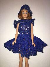 Handmade Barbie Dress and Hat Blue Tlc
