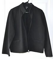 Eileen Fisher Size PL Black Unstructured Open Front Jacket Textured Pockets