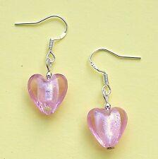 Pink Love Heart Earrings 925 Sterling Silver Hooks Glass Hearts New Drops LB199