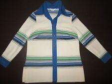 60s 70s Vtg Womens Sears Brady Bunch Style Retro Stripes Large Winter Shirt