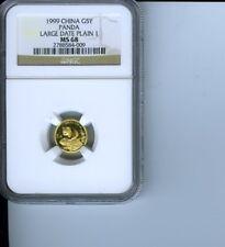 1999 China Panda Gold 1/20 Oz 5 Yuan NGC MS-68 Large Date Plain 1
