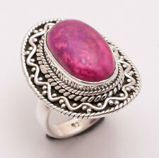 925 Sterling Silver Ring Size UK N, Pink Sugilite Handcrafted Jewelry CR2555
