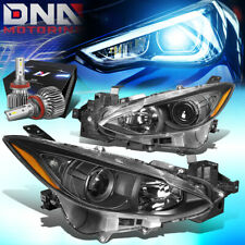 For 2014 2016 Mazda 3 Bm Projector Headlight Lamps Withled Kit Slim Style Black Fits Mazda 3