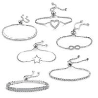 Silver Friendship Bracelets Created with Swarovski® Crystals