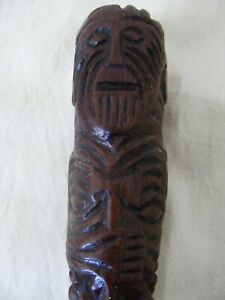 Antique Maritime Sailor Art Carved Maori Walking Stick