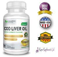 COD LIVER OIL CAPSULES 100 Softgel Omega 3 Fatty Acids Immune Health Strength