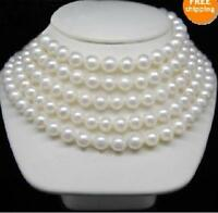 "Long 100"" AAA 9-10 MM SOUTH SEA NATURAL White PEARL NECKLACE 14K GOLD  CLASP"