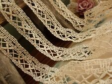 4pcs Lot Antique Clover Vtg Bobbin Lace Needle lace Trim Doll Crochet Cream 7#