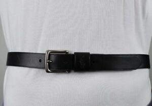 Polo Ralph Lauren Black Leather Belt Silver Buckle NWT