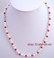 7mm en perles d'eau douce et corail rouge de Collier  42cm