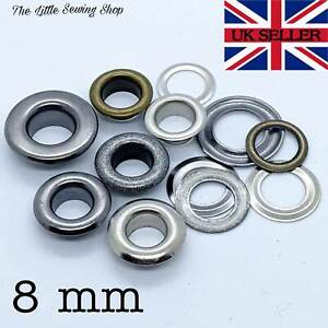 8mm Eyelets with Washers Grommets DIY Leather Craft Bags Pack of 10