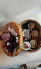 Fine Collectable 9 Piece Childrens Tea Coffee Set for Two in a Wicker Basket