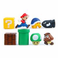 8pcs Super Mario Bros Figures Yoshi Luigi Goomba Mini Figures Playset Kids Gift