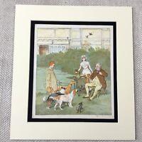 1885 Antik Chromolithographie Viktorianisches Kinder Hunde Welpe Hund Aufdruck