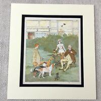 1885 Antique Chromolithograph Victorian Children Dogs Puppy Dog Print