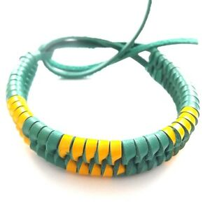 GREEN AND YELLOW LEATHER ADJUSTABLE FRIENDSHIP BRACELET WRISTBAND TIE ON STRAP