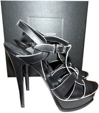 Ysl Yves Saint Laurent Black White Trim Tribute T-Strap Sandal Pump Shoe 39.5