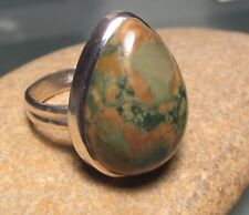 925 sterling silver chunky cocktail 9gr agate ring UK R¼/US 8.75-9