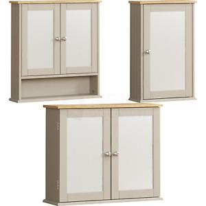 Bathroom Cabinet Wall Mounted Cupboard Storage Furniture Mirrored Unit Grey