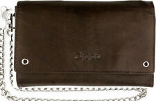 ORIG. ZIPPO MOCCA BROWN LEATHER BIKER WALLET WITH 23.62' CHAIN COIN CARD HOLDER