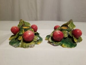 Vintage Ceramic Cherry Candle Holder Made In Italy