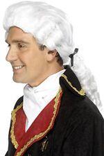 Peluca de juez blanco lazo negro & tirabuzones adulto hombres Smiffys disfraz