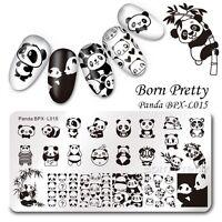 BORN PRETTY Nail Art Stamping Image Plate Cute Panda Design  Template