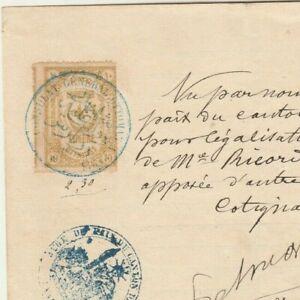 TURKEY Rare Ottoman consular Revenues Pair 20 p. & 10 p. Tied Document 1895