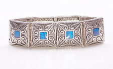 SILVER METAL SQUARE BEAD BRACELET WITH AQUA WINDOWS & HEART INDENTATIONS (ZX38)