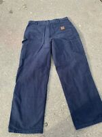 Vintage Carhartt Carpenter Dungarees Pants Navy Blue Made In USA 34x30