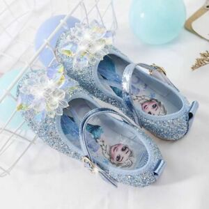 Kids Girls Elsa ANNA Princess Fancy Party Christmas Sequined Crystal Flat Shoes