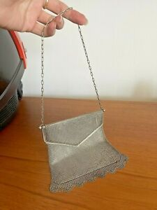 Vintage 1920s Alpaca Silver Metal Chain Mail Handbag Evening Purse Bag Flapper