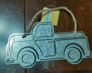 Crafters Square Galvanized Metal Truck Sign Jute cord Crafting Farmhouse Decor