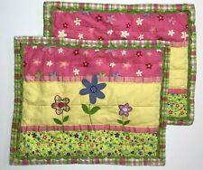 2 DYI Circo Quilted Patchwork Standard Pillow Shams Floral Pink Yellow Green