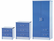 Boys Blue Gloss Bedroom Set 3 Piece - Wardrobe Chest Bedside - Marina Range