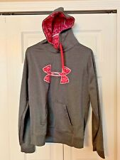 """UNDER ARMOUR STORM GRAY PINK RIBBON """"SHE'S A FIGHTER"""" HOODIE  WOMEN'S SZ LARGE"""