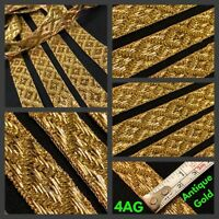 2 Yard Zari Antique Gold Trim Indian Saree Border Craft Lace SewOn Ribbon 1.7cm