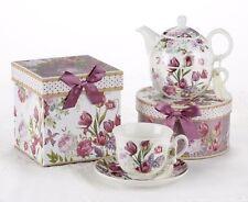 Tea For One Gift Boxed Set Mauve Tulips, Lavender Flowers Pretty Box Delton