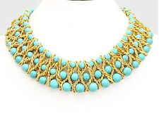 Gold Turquoise GemstonE Statement Chunky Collar Blue Bead Multilayer Necklace